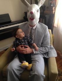 Baby's first visit from the Easter Bunny. - Imgur