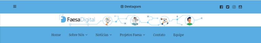 Imagem em azul e branco mostrando símbolos da redação do Faesa Digital em todas as páginas do site