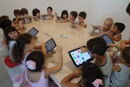 Crianças usando tablets