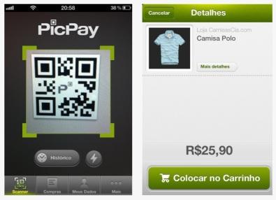 print screen de tela de celular mostrando como realizar compras pelo picpay