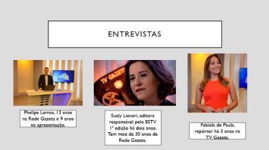 slides que mostram 3 pessoas e suas funções numa emissora de TV