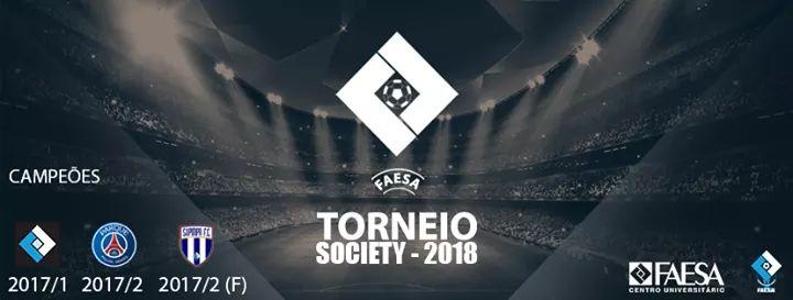 arte desenvolvida para divulgar o torneio de futebol society da FAESA