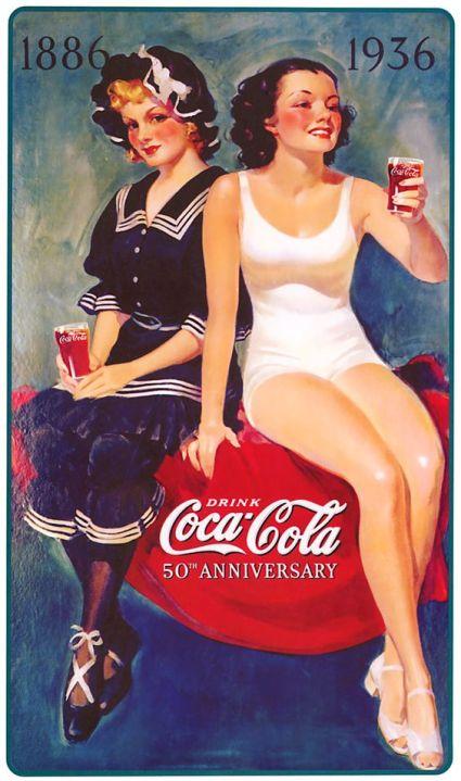 duas pin ups bebem coca cola