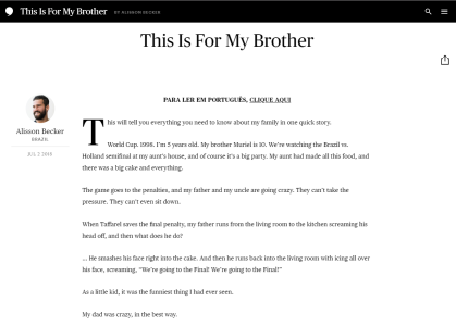 Texto publicado pelo site The Players' Tribune em inglês do goleiro brasileiro Alisson Becker