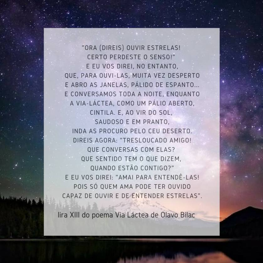 Lira XIII do Poema Via Láctea de Olavo Bilac