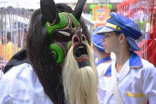Pessoa com máscara de foliã no Encontro Nacional de Folia de Reis