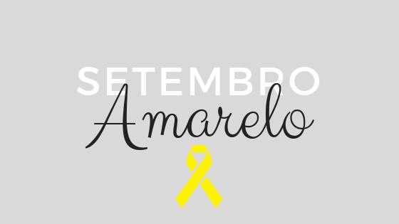 com o fundo cinza, a imagem recebe a palavra frase setembro em branco, Amarelo em preto e a fita amarela em baixo
