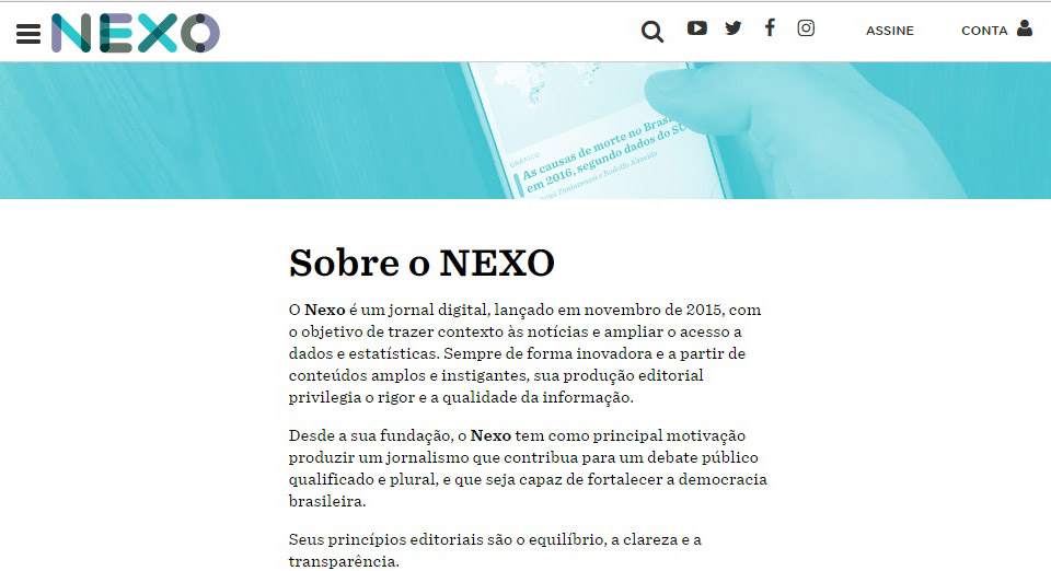 Screenshot do jornal online NEXO