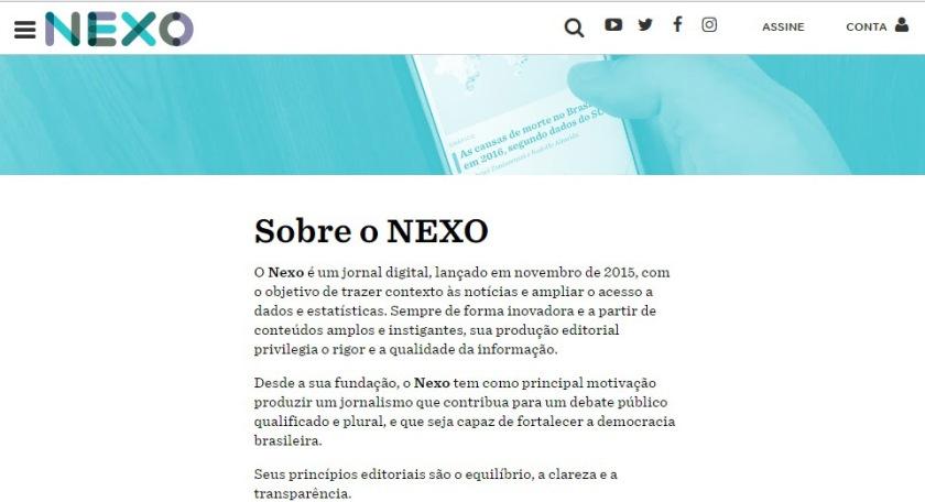 Screenshot do jornal online NEXO