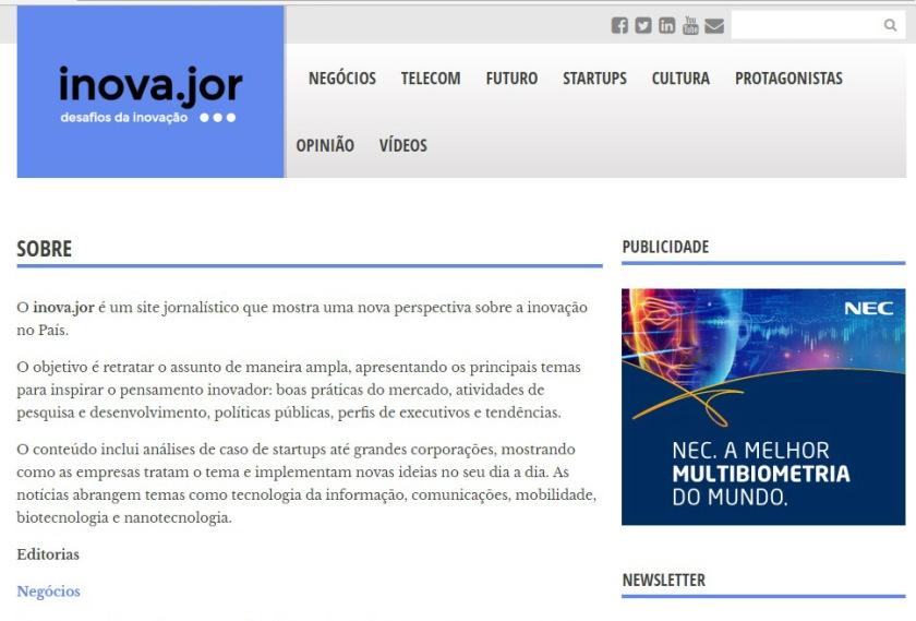 """Screenshot da página """"Sobre"""" do jornal online Inova.jor. Fonte: Internet"""
