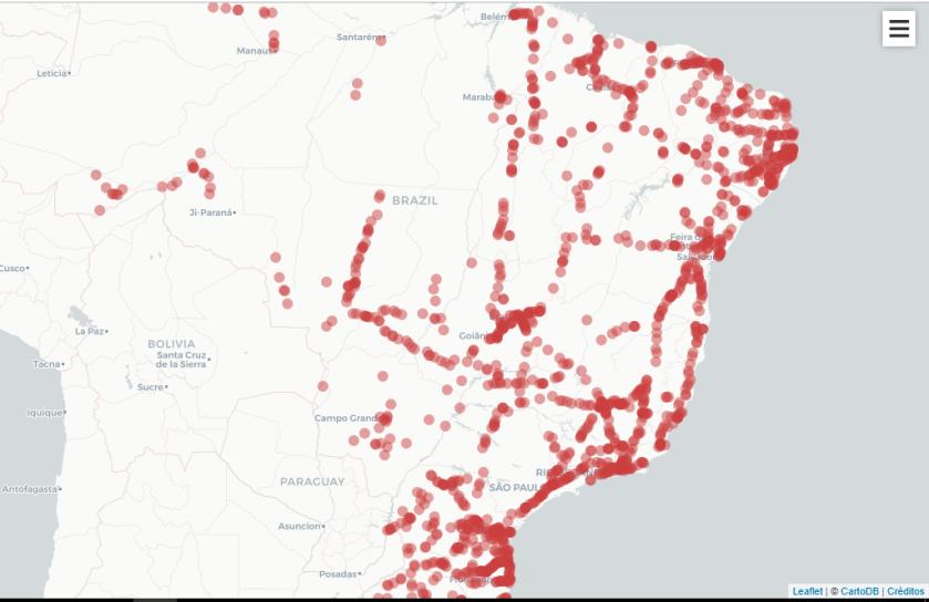 Mapa da Matéria banco, com os pontos vermelho por todos os lugares
