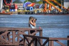 A foto de frente para a baía de Vitória. Com aluna de publicidade Carol de Lai tirando foto da baía de Vitória / Foto: Alisson Rodrigues