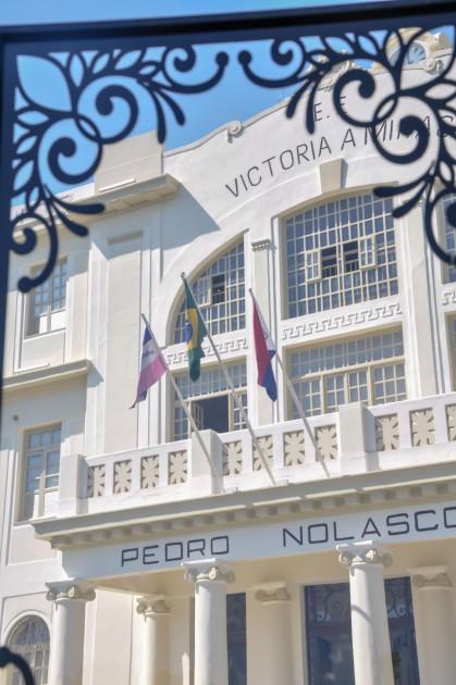 Faixada do museu atrás de uma moldura / Foto: Luiza Sessa